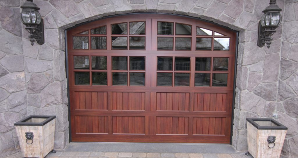 Custom wood garage door design and installation