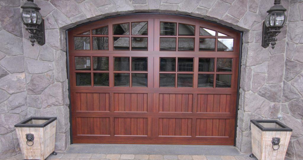 Custom wood garage door design and installation